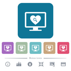 Online Dating flat icons on color rounded square backgrounds
