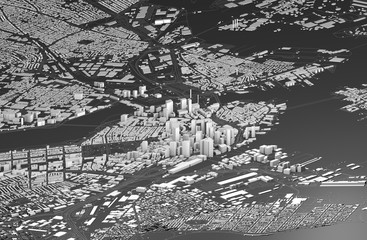 Satellite view of Boston, map of the city with house and building. Skyscrapers. Usa. 3d rendering