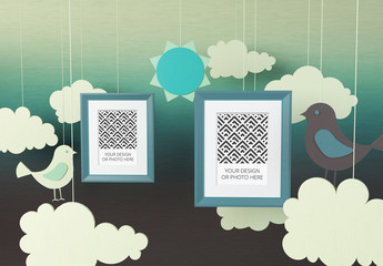 Two Photo Frame Mockups on a Paper Cutout Style Background
