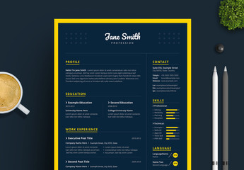 Resume, Cover Letter, and Portfolio Layout with Blue and Yellow Accents