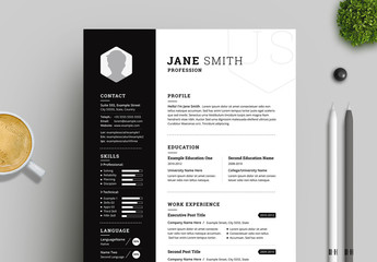 Black and White Resume and Cover Letter Layout with Black Sidebar