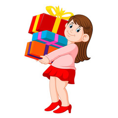 Happy young woman holding pile of gifts
