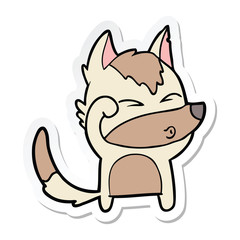 sticker of a cartoon wolf pouting