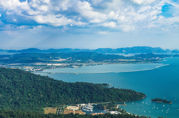 Panoramic view of blue sky, sea and mountain seen from Cable Car viewpoint, Langkawi Island, Malaysia.
