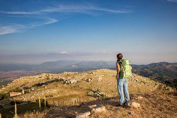 Greece, Peloponnese, Arcadia, Lykaion, woman enjoying the view from mountain Profitis Ilias