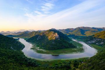 Montenegro, loop of river Crnojevic at sunrise seen from Pavlova Strana lookout Fototapete