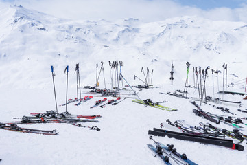 France, French Alps, Les Menuires, Trois Vallees, Ski equipment