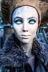 Painted head of female display dummy at flea market