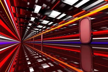 Architecture visualization of a futuristic passageway, 3D Rendering