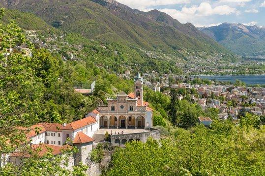 Pilgrimage church Madonna del Sasso, Lake Maggiore, Orselina, Locarno, Canton of Ticino, Switzerland, Europe