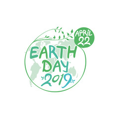Concept 2019 Earth Day. April 22. Earth Day poster. Round green vector template earth ball with hand drawn lettering isolated on white background.