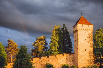 Wall Mural - Old city wall and towers with rainbow in Luzern, Switzerland
