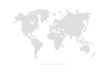 Simple Dotted Political World Map. Template with grey points isolated on white background.