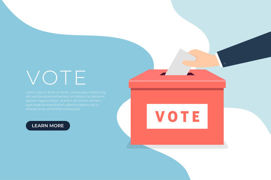 Businessman hand putting voting paper in the ballot box. Voting concept in flat style banner.