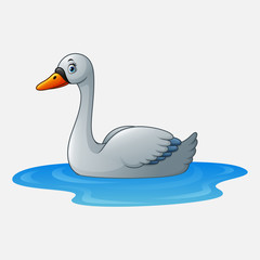 Cartoon beauty swan floats on water