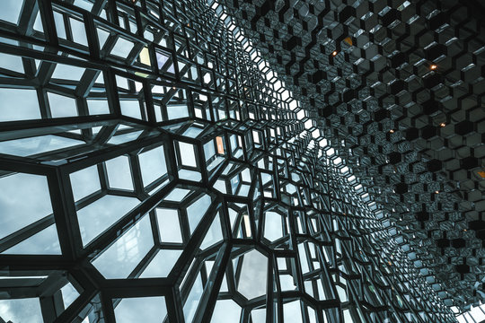 Detailed view of Harpa in Reykjavik, Iceland.