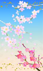 桃桜梅水彩風