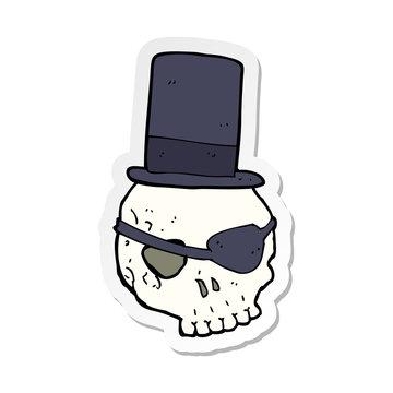 sticker of a skull in top hat cartoon