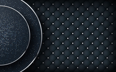 Luxury black leather background. Realistic buttoned leather textured with circle shape and silver list. vector illustration