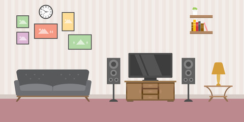 warm living room concept with sofa tv and books rack - vector illustration