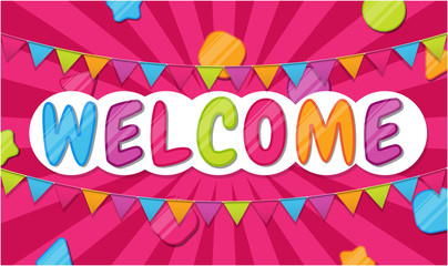 Welcome color banner for kids zone, place for fun and play, kids party.