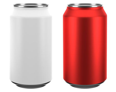 3D rendering of 222 ml aluminum soda sleek can isolated on whiteblackground with cliping path.