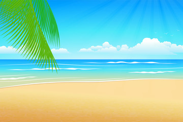 Illustration Summer beach and palm trees