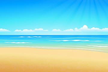 Seascape vector illustration. Paradise beach.