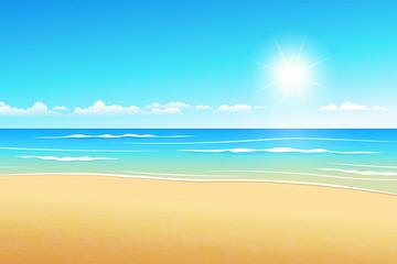 Canvas Prints Turquoise Seascape vector illustration. Paradise beach.