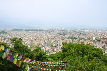 A large city among the mountains.