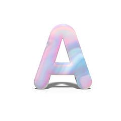 Abstract 3d capital letter A in bright holographic design. Realistic shiny alphabet on neon blue pink font, isolated white background. 3d rendering