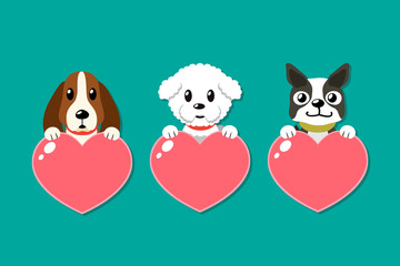 Cartoon dogs with heart signs set for design.