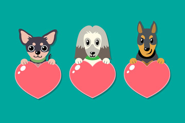 Set of vector dogs with heart signs for design.
