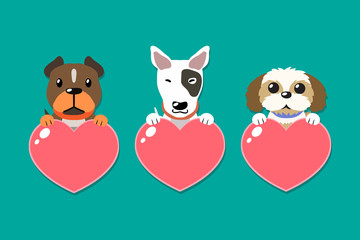 Vector cartoon dogs with heart signs set for design.