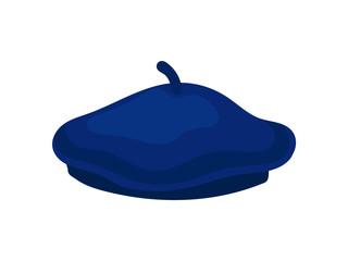 Stylish bright blue beret. National cap of France. Unisex accessory. Popular French headdress. Flat vector icon