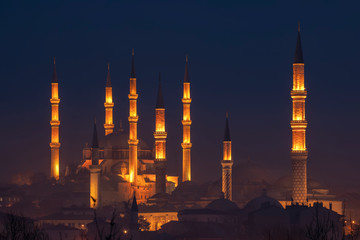 Night view of Selimiye Mosque and Old Mosque Edirne