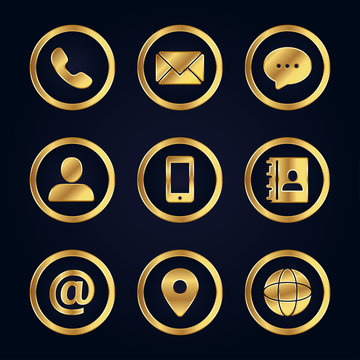 Golden business contact icons set