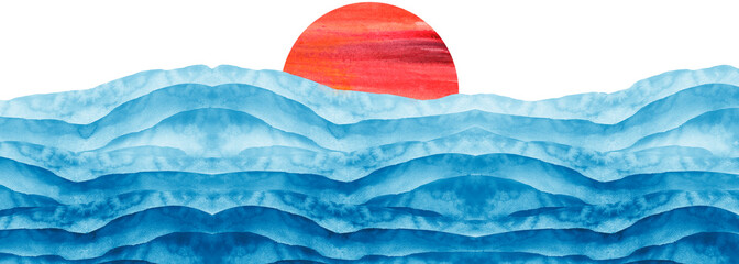 In de dag Abstract wave Abstract blue, red watercolor.The color splashing on the paper. Watercolor splash stain pink. Abstract blot, background. Watercolor field. Abstract suburban landscape,hill. sun, sunrise, dawn