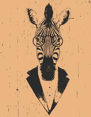 Portrait of Zebra in suit. Hand drawn illustration. Vector