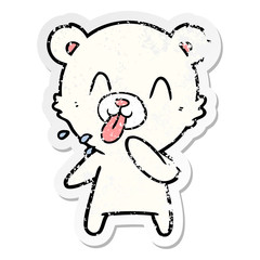 distressed sticker of a rude cartoon polar bear sticking out tongue