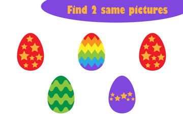 Find two identical pictures, easter fun education game with eggs for children, preschool worksheet activity for kids, task for the development of logical thinking, vector illustration