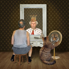 The balding man and his cat view their funny reflections in the mirror. He sees the king in the crown and his pet sees the tiger.