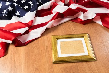 frame on American flag background - Image.