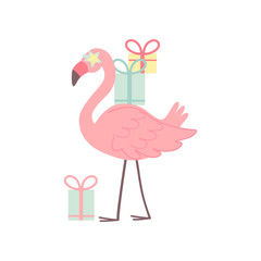 Cute Flamingo with Gift Boxes, Beautiful Exotic Bird Character Vector Illustration