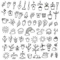 Nature icons set, hand drawn doodle collection of nature signs