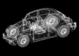Retro Car Concept Architect Blueprint