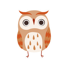 Cute Owlet, Adorable Owl Bird Vector Illustration