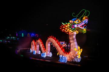 Chinese dragon lanterns show art lights color