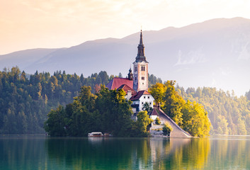 Wall Mural - Bled lake and Bled island, Slovenia