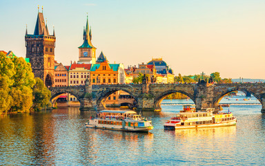 Foto op Canvas Praag Charles Bridge and architecture of the old town in Prague, Czech republic. Vltava river. Landmarks of the Prague. Old town in Prague.